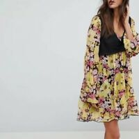Free People Alice Mini Vest Floral Printed Bell Sleeve V Neck Dress XS NEW