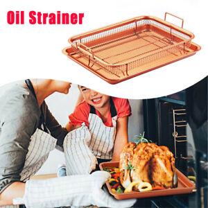 Copper Non-Stick Oven Mesh Baking Tray Chips Crisp Basket Tool v