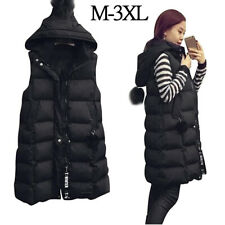 Women's Quilted Long Gilet Winter Warm Hooded Waistcoat Outerwear  Jackets Coats