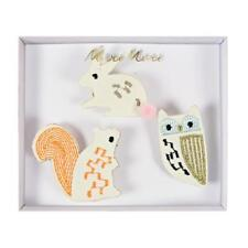 Meri Meri Pack of Woodland Creatures Brooches, rabbit, owl, squirrel, Gift idea