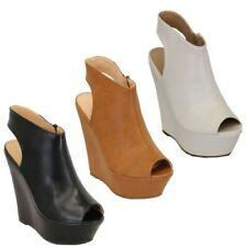 Mujer Cuña con Plataforma Peep Toe Corte Sandalias Zapatos de Tacón Verano Nuevo