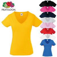 Fruit of the Loom Women's Short Sleeve Valueweight V-Neck T-Shirt Ladies Fit Top
