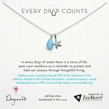"""Dogeared Every Drop Counts Surfrider Sterling Silver 18"""" Necklace NEW"""