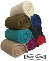 100% Cotton Sofa Throws / Bed Throws in 8 Colors & 5 Sizes (Clearance) Ascot