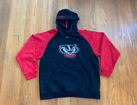 Wisconsin Badgers Vintage Nike Center Swoosh Hoodie Mens M Rare EUC
