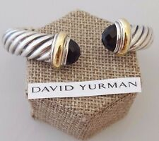 David Yurman SS & 18k 10mm Waverly Cuff Bracelet with Black Onyx