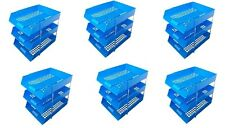 18 Blue A4 Letter Filing In Out Desk Trays + 12 Risers Stacking Paper Office