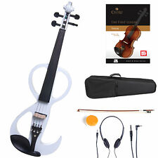 Cecilio Size 4/4 Electric Violin Ebony Fitted ~ White Style3