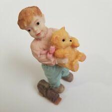 """Artisan Flair Little Boy Holding Teddy Bear Dollhouse Figurine 3 1/2"""" Tall"""
