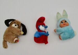 Vintage pencil finger hugger gripper clip Monchichi rabbit Smurf dog plush