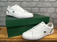 LACOSTE UK 3.5 EU 36 LEROND WHITE GOLD LEATHER TRAINERS CHILDRENS LADIES LG