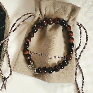 "David Yurman Spiritual Bead Men's Bracelet with Red Tiger Eye M 8.5"" Authentic"