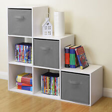 White 6 Cube Kids Toy/Games Storage Unit Girls/Boys Bedroom Shelves 3 Grey Boxes