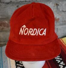853b8a05cc7 Vintage Nordica Corduroy Hat Red Snapback Trucker Ball Cap Made in USA Co  Logo