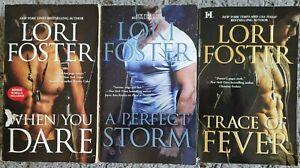 LORI FOSTER 3 BOOK LOT PB ROMANCE NOVELS FREE SHIPPING DARE STORM FEVER