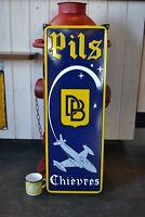 Plaque émaillée bière Pils Chièvres 80*28 cm pochoir