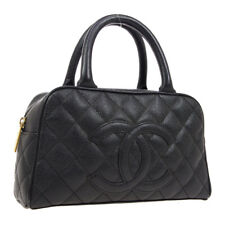 CHANEL Quilted CC Mini Boston Hand Bag 9975240 Purse Black Caviar Skin 01845