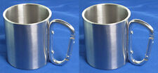 Lot of 2 Stainless Steel Traveling Camping Cup Mug 180 ml w/ Carabiner Handle