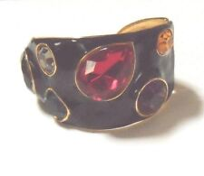 KJL KENNETH JAY LANE BLACK ENAMEL MULTI STONE CUFF BRACELET SMALL