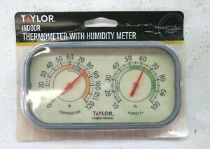 """Taylor Indoor Thermometer w Humidity Meter Precision Products 5506 6"""" New"""