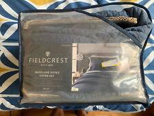 Fieldcrest Jenkins Blue Quilted Cotton Matelasse Duvet Cover Set Full/Queen Bed