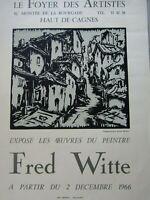 Fred Witte / Affiche d'exposition 1966 / Le Foyer des artistes Haut de Cagnes