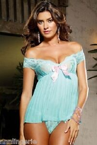 Dreamgirl Lingerie Sexy Pleated Aqua Babydoll and Thong Set