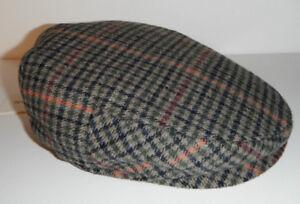 STETSON DRIVING CAP HAT wool blend NEW LARGE tan mix plaid !