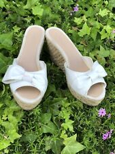 Nine & Co Women's 8M, White Bow Espadrille Sandals, Pin Up, Party Rockabilly EUC