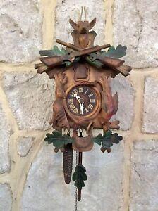 Antique Vintage Black Forest Cuckoo Clock,Mechanical,Carved Animals,Glass Eyes