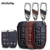 Leather Remote Car Key Cover FOB Shell Case Holder For Jeep Chrysler Dodge Fiat