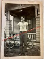 Vintage Old 1940's Photo of Cute Teenager Boy Lakeside Lions Shirt San Diego 💥