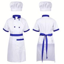 Kids Boys Girl Chef Uniform Costume Party Fancy Dress Up Jacket+Apron+Hat Outfit