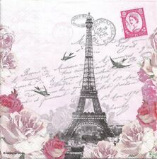 Lot de 4 Serviettes en papier Lettres de Paris Decoupage Collage Decopatch