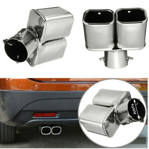 63mm Universal Car Accessories Stainless Steel Muffler Exhaust Tip Pipe Silver