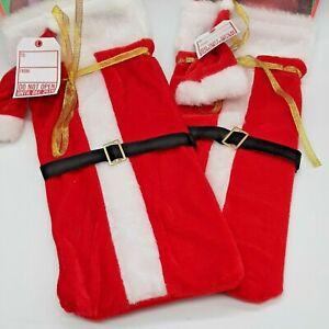 CHRISTMAS 2 SANTA WINE BOTTLE Bag DRAWSTRING STOCKING CAP & LABEL COMPLETE GIFT