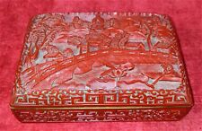 HAND CARVED CHINESE LACQUER BOX. INTERIOR IN METAL. CHINA. XIX-XX CENTURY