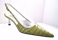 CESARE PACIOTTI Green Croc Print Leather HEROES Slingback Heels Size 35 Italy