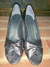 Nine West NW Nimble SILVER PLATINUM Leather Wedges High Heels Size 10.5 ❤️tb9j10