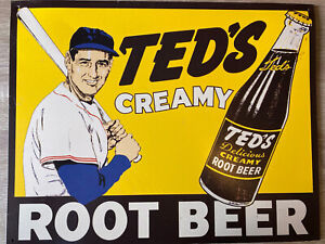 "Vintage Ted's Creamy Root Beer Porcelain Sign Ted Williams 10"" x 15"""