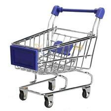 Blue Mini Handcart Shopping Cart Supermarket Utility Mode Storage Toy Holder New