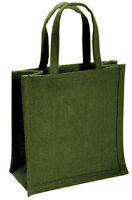 Small Green Jute Hessian Bag (22 x 19 x 12cm)
