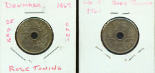 WORLD COINS  DENMARK 1967 25 ORE (G442) CUNI ROSE TONING AU