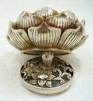 collectable Tibetan silver lotus flower figure censer beautiful incense burner