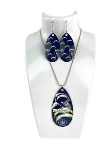 NFL Los Angeles Chargers Repeat Logo Teardrop Spinner Earrings & Necklace Set