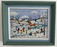 "Charlotte Julian - "" Le bonhomme de neige "" Art Naïf - Acrylique - Tableau 10"