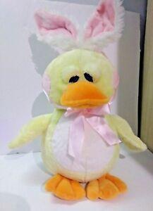Ganz Yellow Duck Waddlehopper pink white bunny ears HE9633 Rare HTF