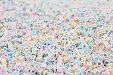 500 x 6mm WHITE Alphabet Beads COLOURFUL LETTERS A-Z, Pony Beads, Dummy Clips