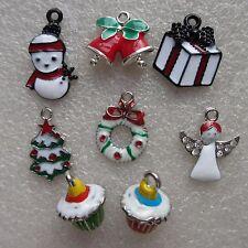 10 Xmas Mixed SP Enamel Pendant Charms Angel Bells Gift Tree Snowman Wreath ...