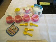 Fisher Price Fun with Food Tea Cups Saucers Hot Pad Tea Pot Spoons Tea Party Fun